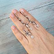 Украшения handmade. Livemaster - original item Demitra earrings, ring and pendant made of 925 sterling silver and zircons DD0005. Handmade.