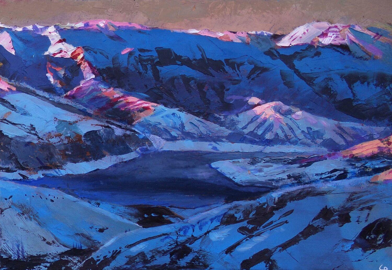 """Картина мастихином """"Замерзшее горное озеро"""", Картины, Туапсе,  Фото №1"""