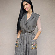 Одежда handmade. Livemaster - original item Stylish gown with hand embroidery