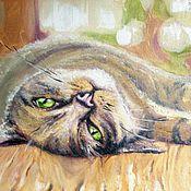 """Картины и панно ручной работы. Ярмарка Мастеров - ручная работа Картина маслом """"Котик отдыхает"""". Handmade."""