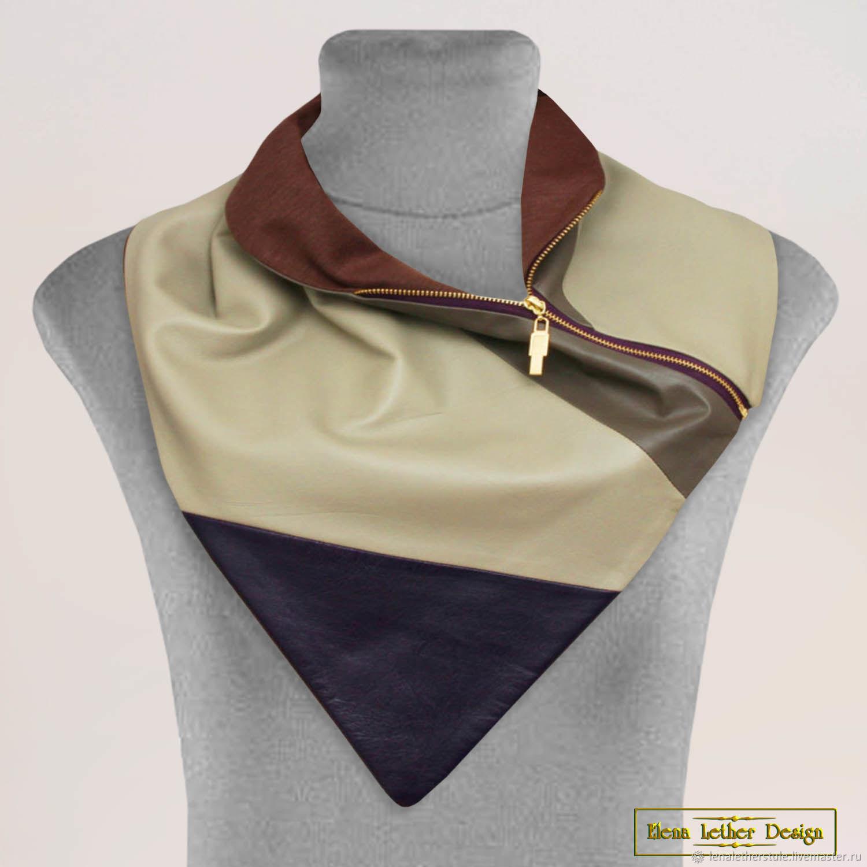 Snood collar 'Corner' zipper genuine leather, Scarves, Rodniki,  Фото №1