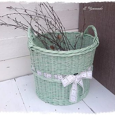 Для дома и интерьера ручной работы. Ярмарка Мастеров - ручная работа Корзина плетеная мятная Первый день весны. Handmade.