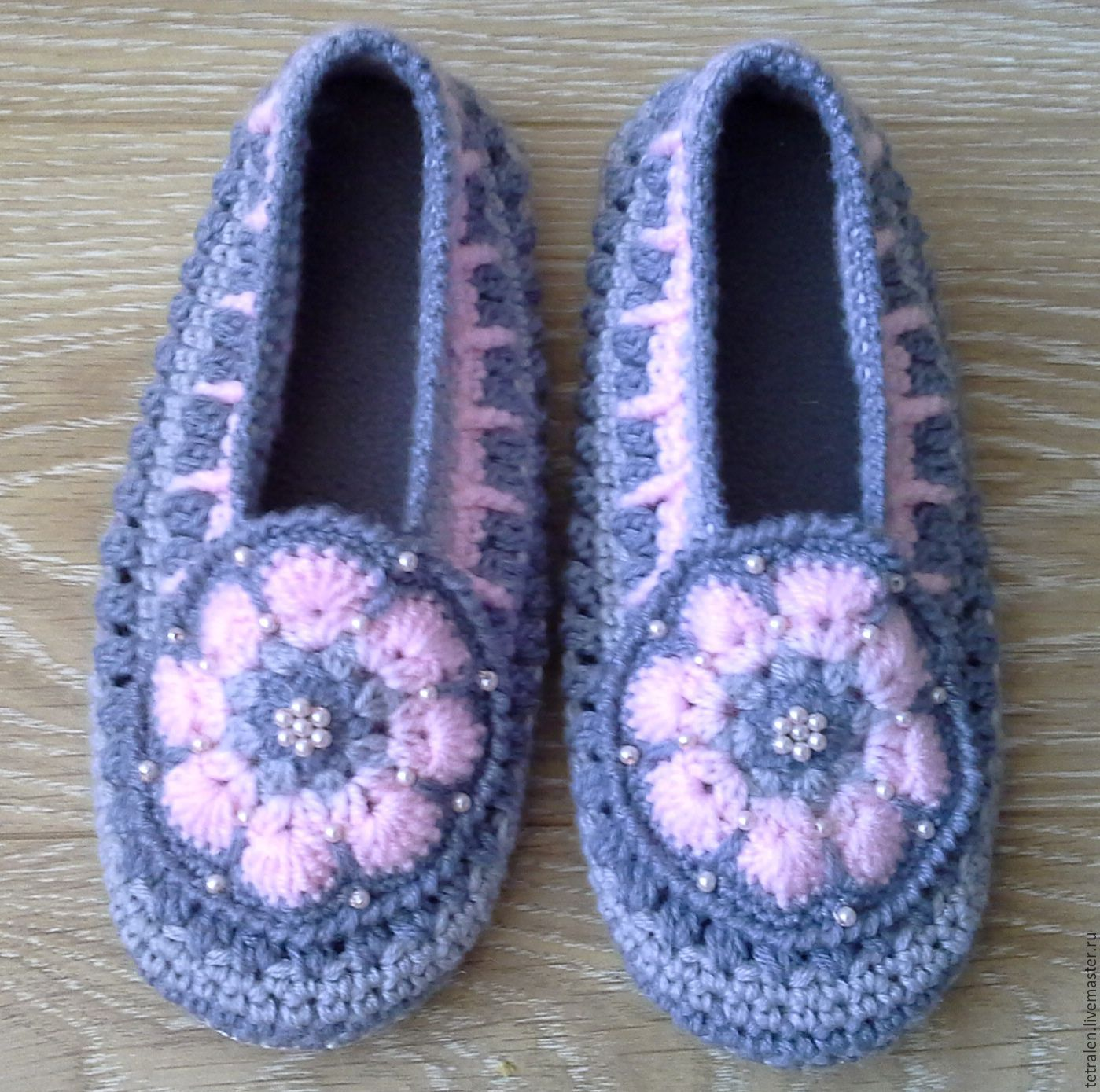 "Slippers crocheted ""Pink and gray"", Slippers, Orel,  Фото №1"