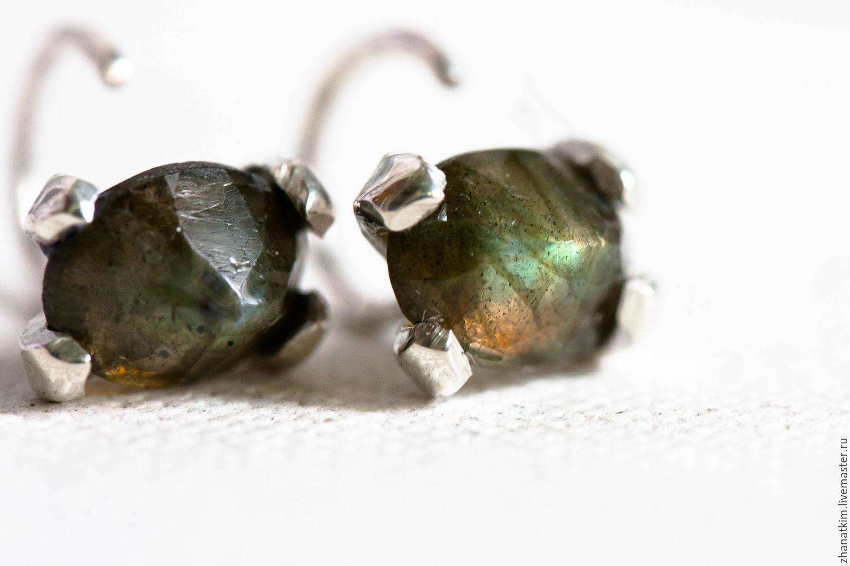 Hoop earrings, Sterling silver earrings with Labradorite, Earrings, Almaty,  Фото №1