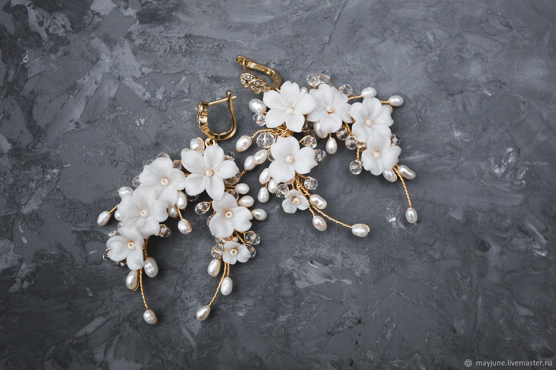 Wedding earrings with handmade flowers and river pearls, Earrings, Tambov,  Фото №1