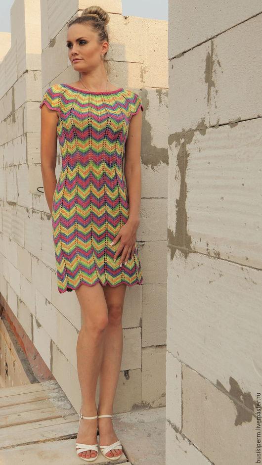 Платья ручной работы. Ярмарка Мастеров - ручная работа. Купить Платье вязанное Зигзаг. Handmade. Комбинированный, Платье нарядное