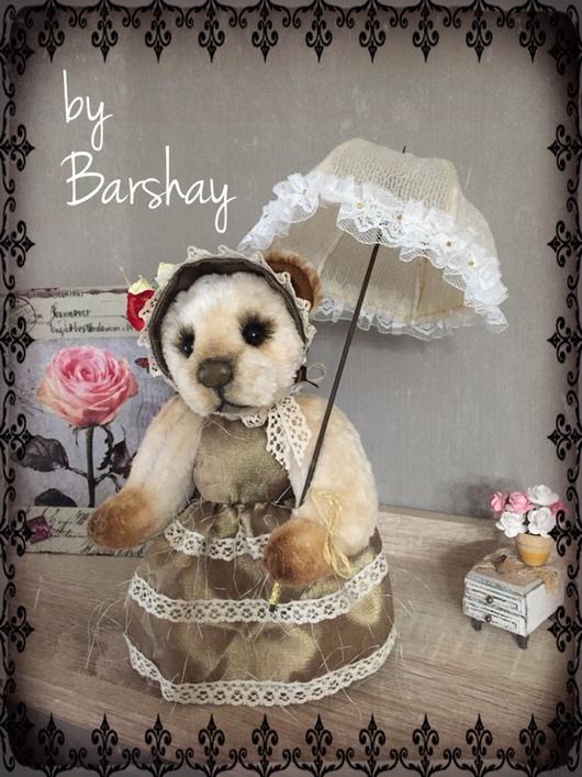 Мишка Тедди Медведица Адель ретро с зонтом. Игрушки ручной работы от Евгении Баршай.