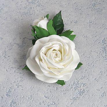 Украшения ручной работы. Ярмарка Мастеров - ручная работа Брошь из фоамирана Белые розы. Handmade.