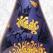 Посуда ручной работы. Ярмарка Мастеров - ручная работа Бутылка Ночная Хризантема, роспись. Handmade.