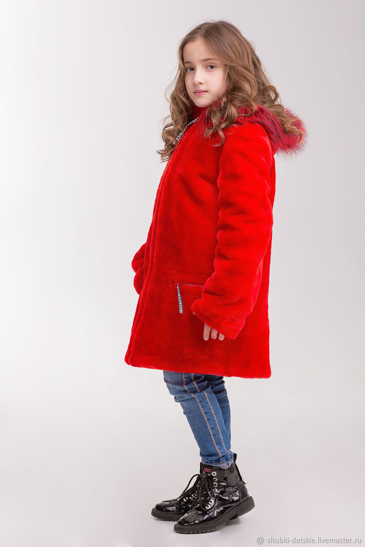 Одежда для девочек, ручной работы. Ярмарка Мастеров - ручная работа. Купить Красная шуба из мутона. Handmade. Шуба, полушубок, мутон