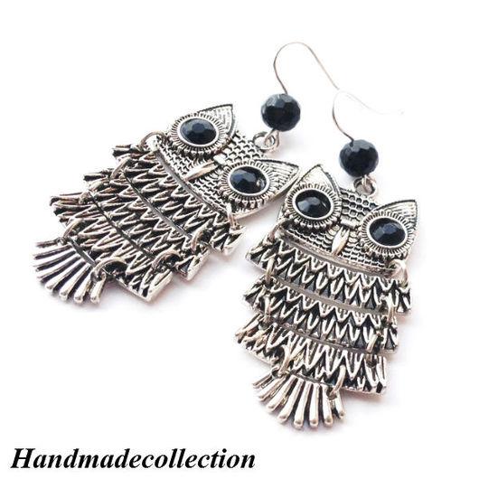 Молодежные длинные серьги с черными агатами `Серебристые совы` очень необычные и стильные серьги. Стильный аксессуар. Недорогой подарок подруге. Оригинальные серьги. Стильные серьги. Длинные серьги.