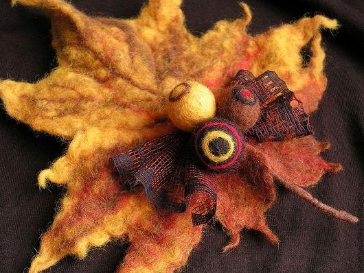 """Броши ручной работы. Ярмарка Мастеров - ручная работа. Купить Брошь """"Осень"""". Handmade. Желтый, осенние листья"""