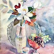 Картины и панно handmade. Livemaster - original item painting watercolor. Magnolia with red vase.. Handmade.