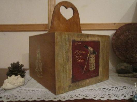 """Корзины, коробы ручной работы. Ярмарка Мастеров - ручная работа. Купить Короб для вина """"Бордо"""". Handmade. Бордовый, прованс"""