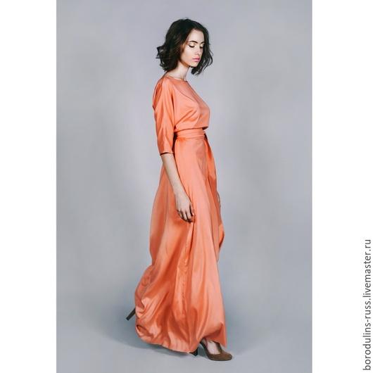 """Платья ручной работы. Ярмарка Мастеров - ручная работа. Купить Платье шелковое""""Манговый рассвет"""". Handmade. Кремовый, шелковое платье"""