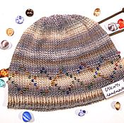 Аксессуары handmade. Livemaster - original item Knitted hat (beanie) with rhombus bead. Handmade.