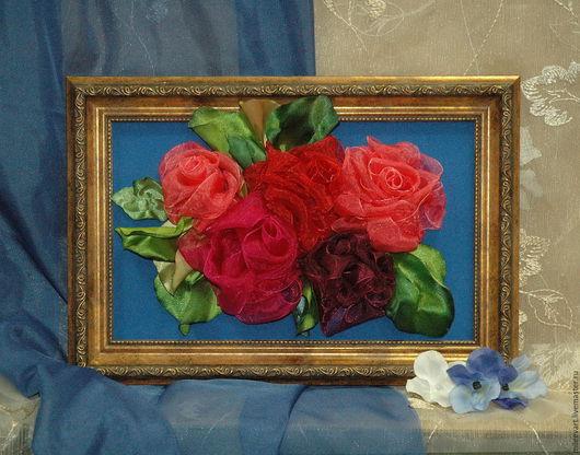 Картины цветов ручной работы. Ярмарка Мастеров - ручная работа. Купить Розы. Handmade. Комбинированный, вышивка ручная, позитивный подарок