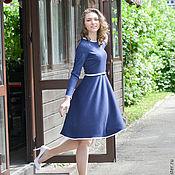 Одежда ручной работы. Ярмарка Мастеров - ручная работа Синее платье с белой каймой. Handmade.