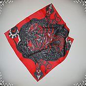 """Аксессуары ручной работы. Ярмарка Мастеров - ручная работа Шелковый платок """"Скорпион-знак зодиака"""". Handmade."""