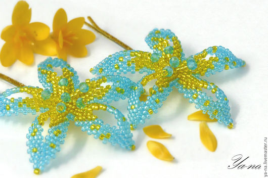 """Заколки ручной работы. Ярмарка Мастеров - ручная работа. Купить Заколка-невидимка из бисера """"Голубые цветы"""". Handmade. Бирюзовый, романтичный"""