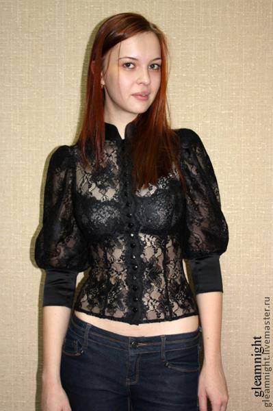 Блузки ручной работы. Ярмарка Мастеров - ручная работа. Купить Кружевная блузка. Handmade. Черный, черное кружево