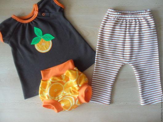 """Для новорожденных, ручной работы. Ярмарка Мастеров - ручная работа. Купить Комплект """"Апельсинка"""". Handmade. Туника для девочки, апельсин, кулирка"""