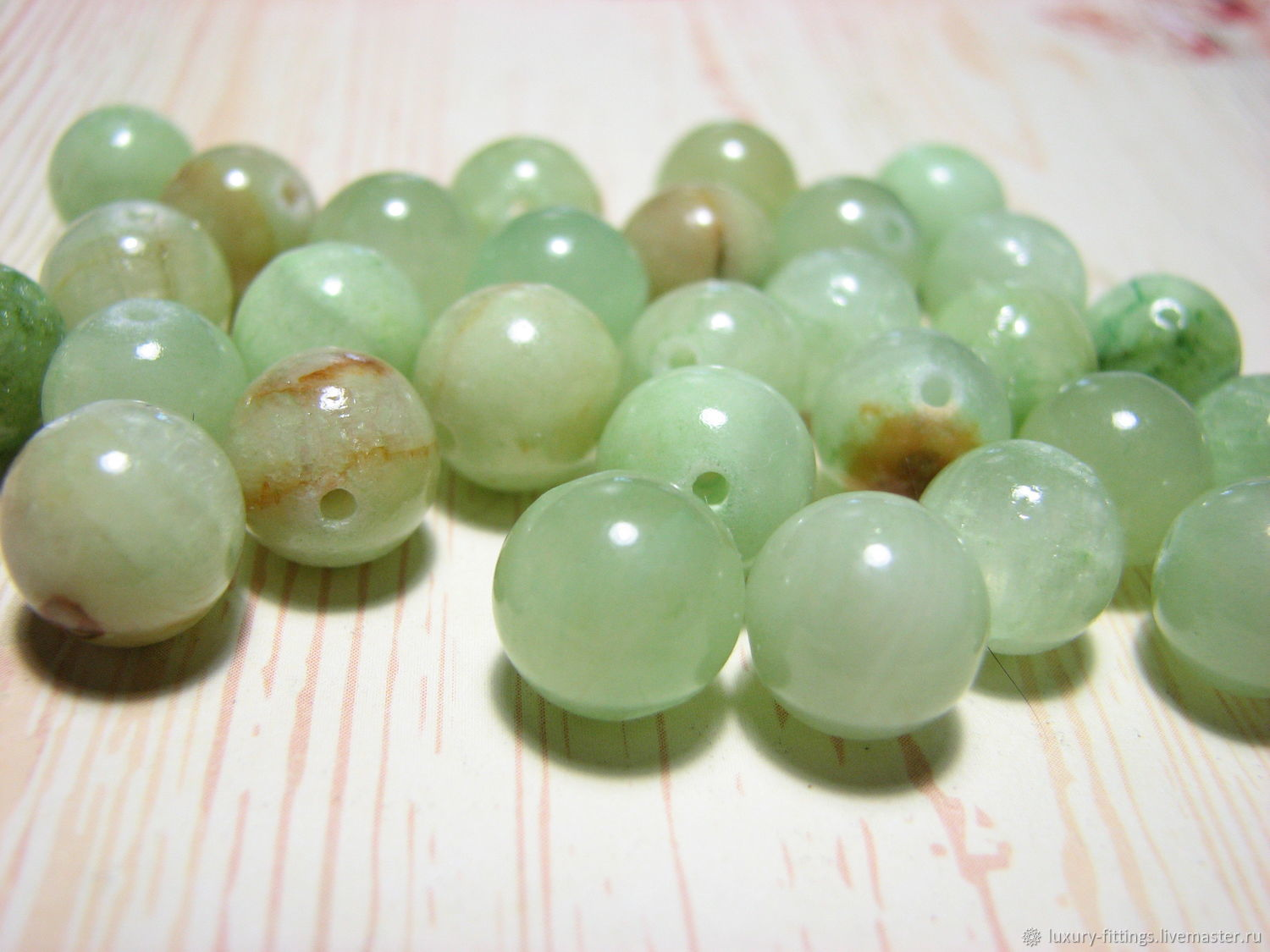 Green calcite, trademark green onyx, marble onyx, Beads1, Moscow,  Фото №1