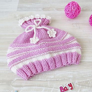 Clothing handmade. Livemaster - original item Children`s hat knitted for girls pink striped 0-3 months. Handmade.