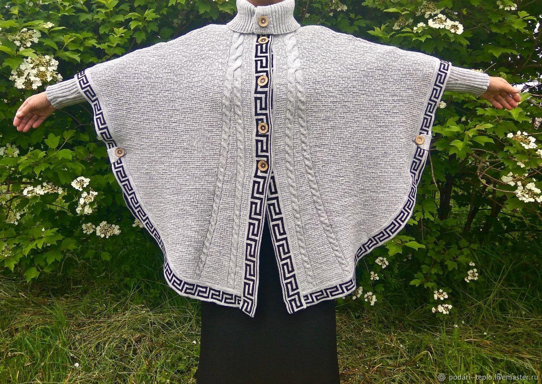 Вязаное женское пончо со съемными рукавами, Пончо, Черкесск, Фото №1
