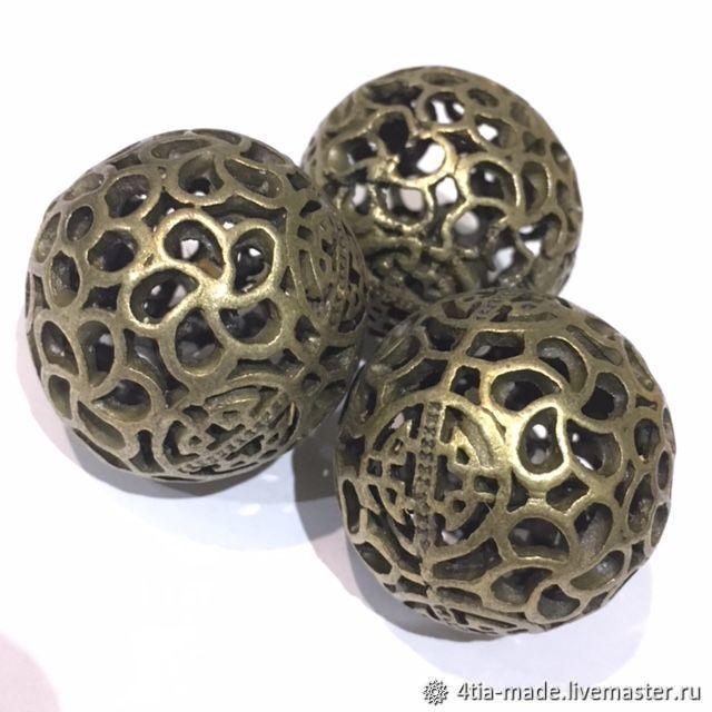 Для украшений ручной работы. Ярмарка Мастеров - ручная работа. Купить Бусины металлические, под бронзу. Handmade. Хаки, бусины