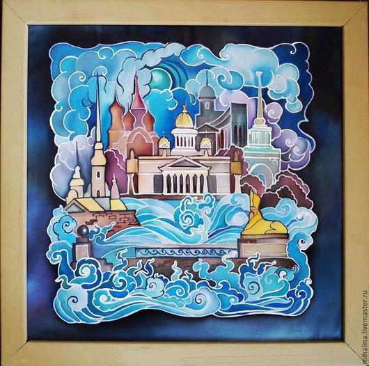 Пейзаж ручной работы. Ярмарка Мастеров - ручная работа. Купить Санкт-Петербург батик. Handmade. Разноцветный, Питер, панно, шифон