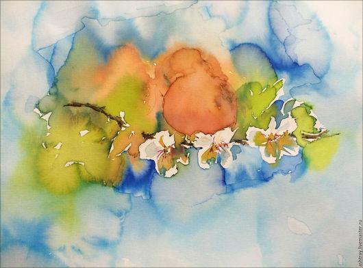 Картины цветов ручной работы. Ярмарка Мастеров - ручная работа. Купить Абрикосы. Handmade. Рыжий, акварельная картина, акварельные цветы