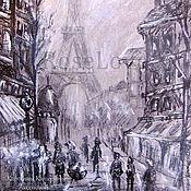 """Картины и панно ручной работы. Ярмарка Мастеров - ручная работа Картина """"Париж-1"""" .Графика черный белый. Handmade."""
