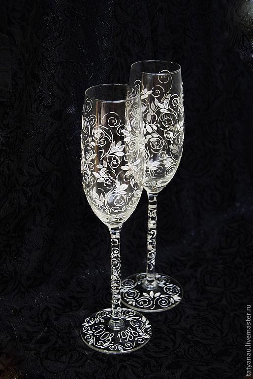 Набор бокалов для шампанского упаковка 2 шт.,'золотая отводка'