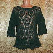 Одежда ручной работы. Ярмарка Мастеров - ручная работа Пуловер темно зеленый. Handmade.