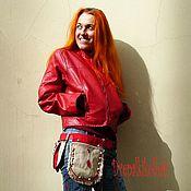 Waist Bag handmade. Livemaster - original item Waist bag: Bag travel waist Boho red vintage linen. Handmade.
