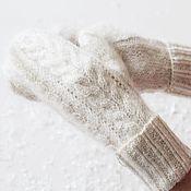 Аксессуары handmade. Livemaster - original item Mittens: knitted downy white with braids. Handmade.