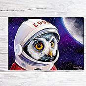 """Открытки ручной работы. Ярмарка Мастеров - ручная работа Открытка для посткроссинга """"Сова-космонавт"""". Handmade."""