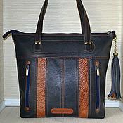 Сумка-шоппер ручной работы. Ярмарка Мастеров - ручная работа Сумка-шоппер: Синяя кожаная сумка. Handmade.