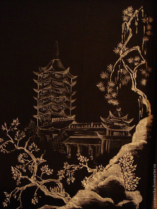 """Пейзаж ручной работы. Ярмарка Мастеров - ручная работа. Купить батик """"китайские мотивы"""". Handmade. Чёрно-белый, китай, шифон"""