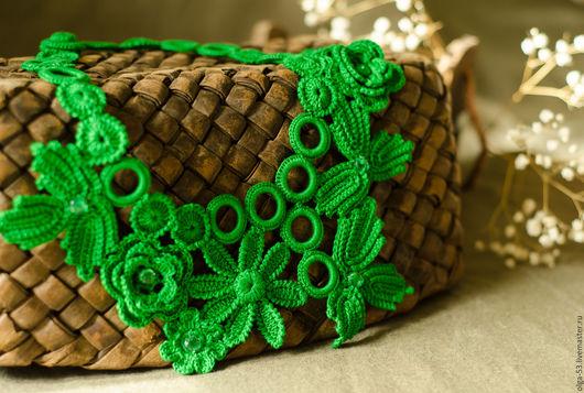 """Колье, бусы ручной работы. Ярмарка Мастеров - ручная работа. Купить Колье вязаное """"Дыхание леса"""". Handmade. Зеленый"""