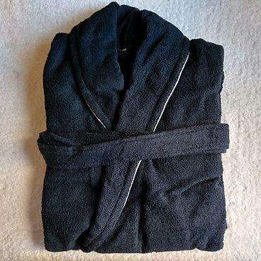 Одежда ручной работы. Ярмарка Мастеров - ручная работа Махровый халат синий с кантом. Handmade.