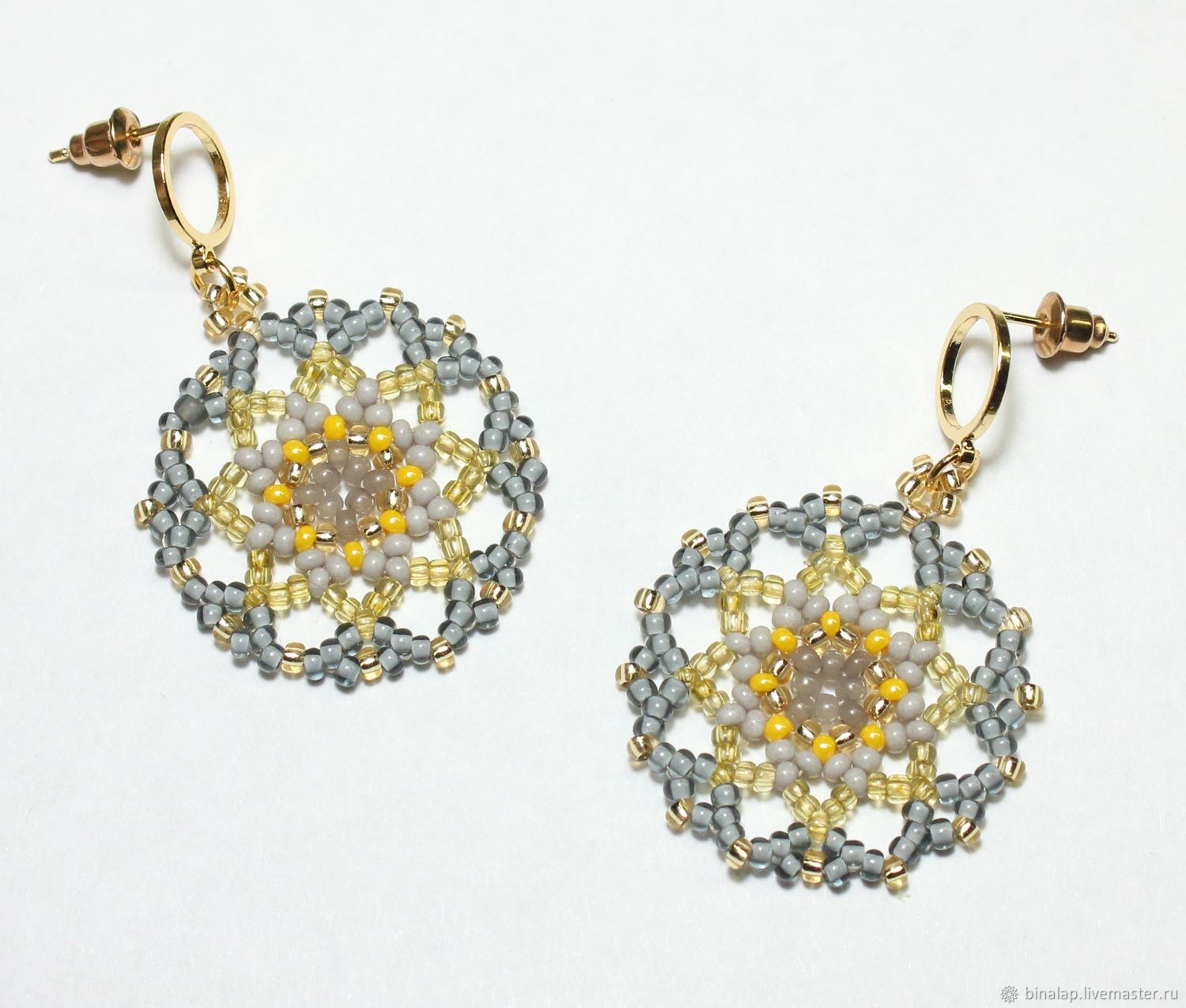 Round gray-yellow earrings, Earrings, Moscow,  Фото №1