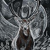 Картины и панно handmade. Livemaster - original item Deer and silver moon.( Drawing oil pastel). Handmade.