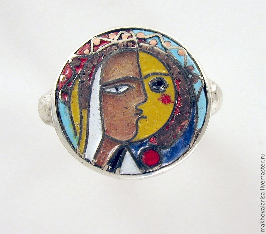 Кольцо перегородчатая эмаль Пикассо, Кольца, Москва, Фото №1