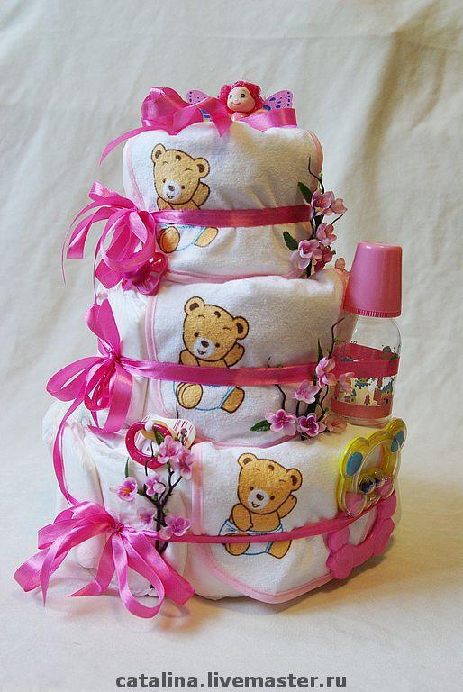 """Подарки для новорожденных, ручной работы. Ярмарка Мастеров - ручная работа. Купить Торт из подгузников """"Розовый зефир"""". Handmade. Торт из подгузников"""