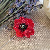 Украшения handmade. Livemaster - original item Safety pin brooch Red poppy . Glass lampwork. Handmade.