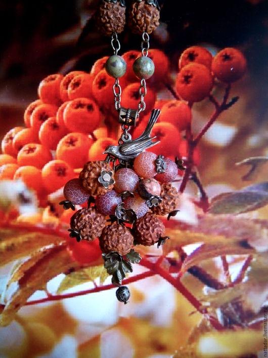 Колье, бусы ручной работы. Ярмарка Мастеров - ручная работа. Купить Сотуар Зимняя ягода. Handmade. Коричневый, зимняя ягода