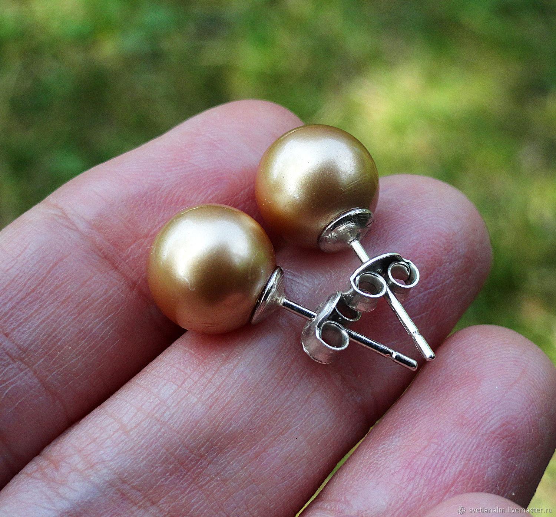 VINTAGE GOLD pusset earrings925 silver, Swarovski pearls, Stud earrings, Kiev,  Фото №1