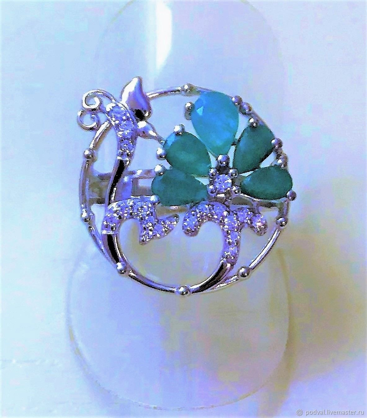 Silver ring with natural emeralds ' Spring sprout', Rings, Korolev,  Фото №1